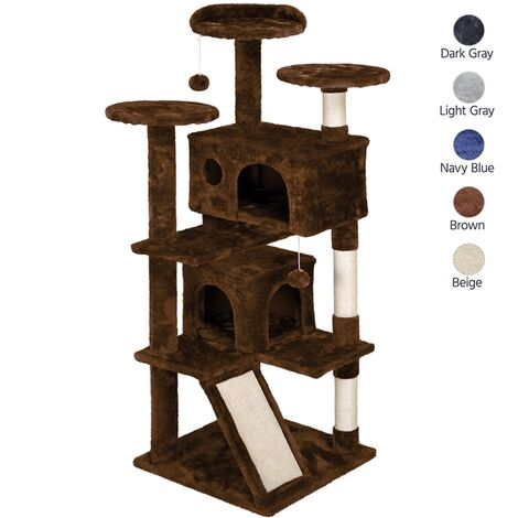 137cm Cat Tree Tower, Cat Stand with 3 Cat Scratching Posts/ 2 Cozy Condos/Cat Scratching Board/ 2 Kitten Toys for 2-3 Large/Medium Adult Cats Brown