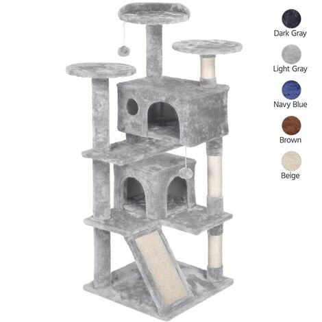 137cm Cat Tree Tower, Cat Stand with 3 Cat Scratching Posts/ 2 Cozy Condos/Cat Scratching Board/ 2 Kitten Toys for 2-3 Large/Medium Adult Cats Light Grey