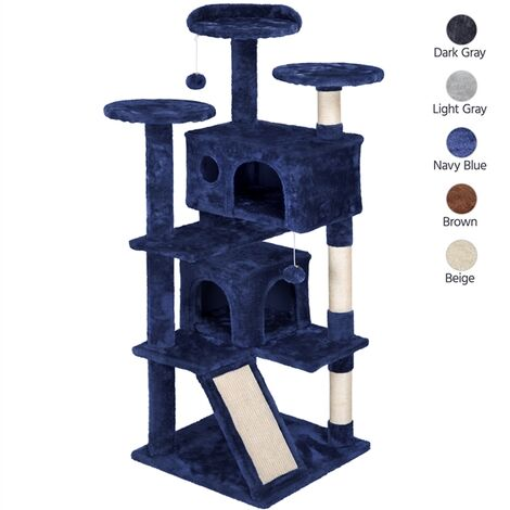 137cm Cat Tree Tower Kitten Climbing Stand for 2-3 Large/Medium Indoor Cats, Cat Scratching Post with Perch/ 2 Condos/ 3 Platforms/Cat Scratching Board/Kitten Toy in Navy Blue