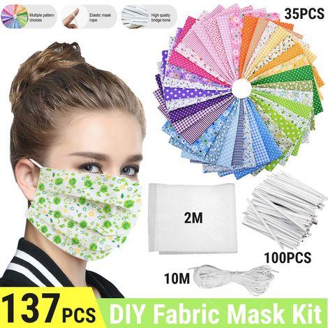 137pcs DIY Máscara Material Cubierta facial Tela de algodón