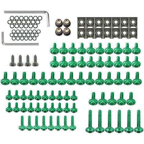 137pcs Kit de boulon de carénage en aluminium pour moto, vis de fixation pour la plupart des motos de sport (vert)