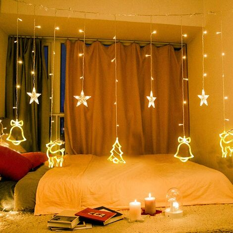 138 LED Light Curtain - Fairy Lights with Stars and Christmas Patterns - Indoor / Outdoor Christmas Lighting - EU Plug - Waterproof - Christmas Decoration (Warm White)