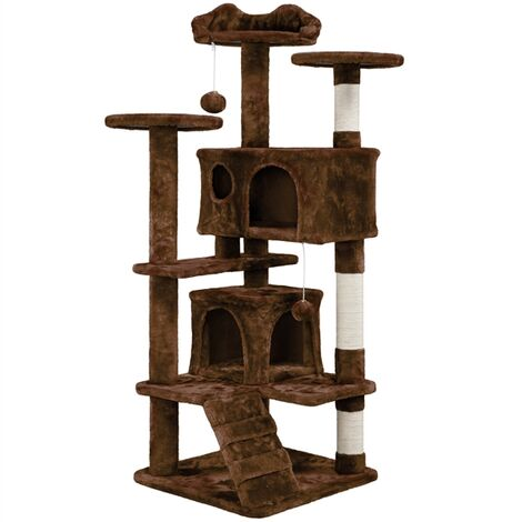 138cm Cat Tree Tower Cat Scratcher Activity Centres Scratching Post,Brown