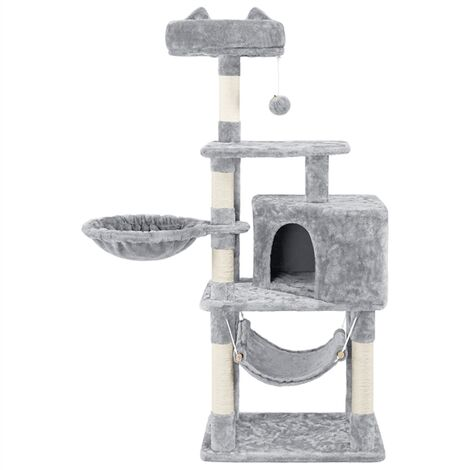 139cm Cat Tree Tower, Cat Stand, Cat Scratching Post with Kitten Condo/Perch/Platform/Hammock/Basket/Cat Toy/ 5 Cat Scratching Posts for 2-3 Indoor Cats, Light Grey