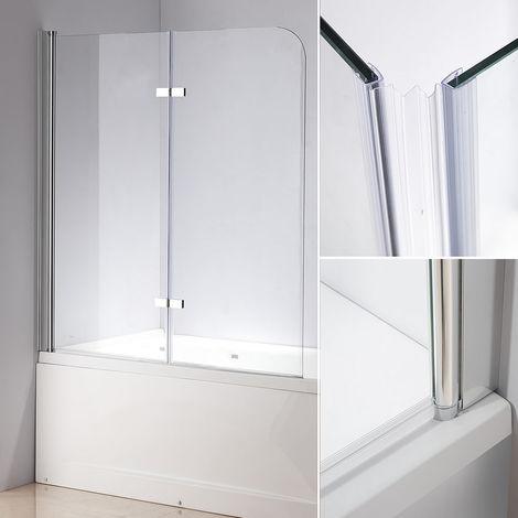 139x119 CM Bañeras de cristal Mampara de ducha Pared de bañera plegable Transparente