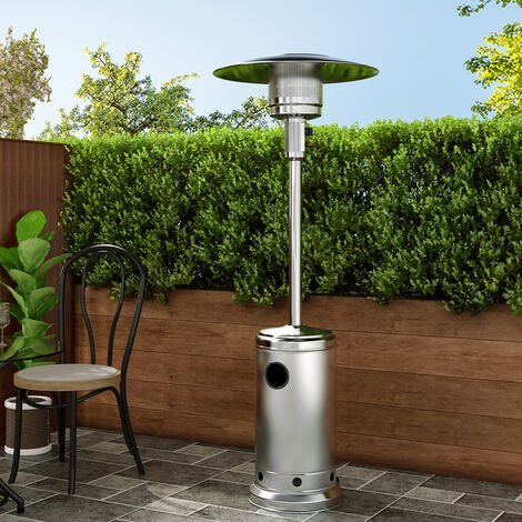13KW Outdoor Gas Powered Patio Heater Freestanding With Wheel, Silver