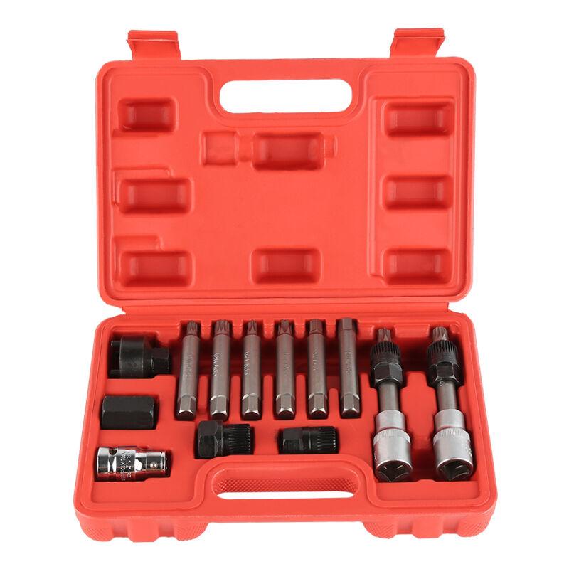 Oobest - 13pcs Jeu d'outils de clé à Douille de Roue Libre d'alternateur, Module d'outils pour poulies débrayables d'alternateurs