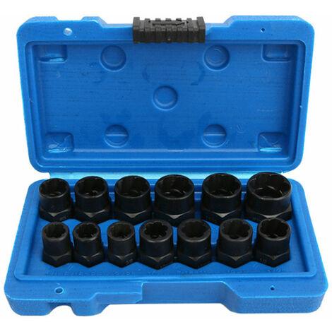 "main image of ""13Pcs Nut Bolt Extractor Socket Set Damaged Rusted Bolt Removal Tools,model: 1 set"""