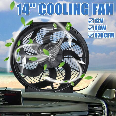 14 '' 12V 80W 676CFM Electric Radiator Fan with Mounting Kit