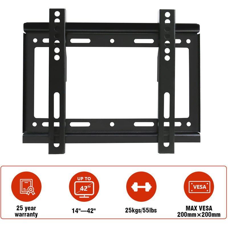 Image of Green Bay - 14'-42' Fixed TV Wall Bracket For LED LCD Plasma & Curved Screens - VESA 200x200mm