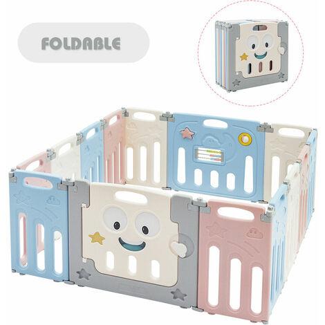 14 Panel Large Foldable Baby Playpen Safety Activity Center Playard Lock Door
