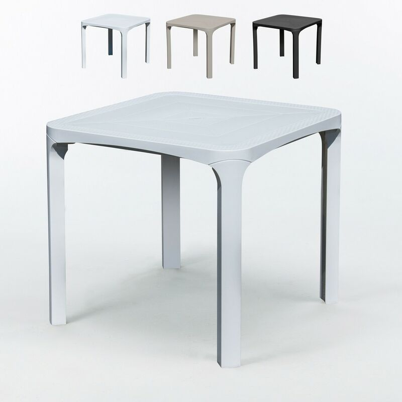 14 Tables carreés en Poly rotin 80x80 Grand Soleil Olè | Blanc