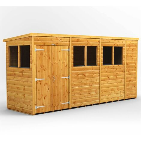 14 x 4 Premium Tongue and Groove Pent Shed - Double Doors - 6 Windows - 12mm Tongue and Groove Floor and Roof