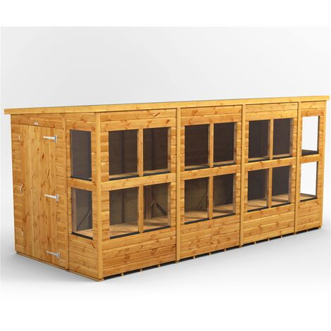 14 x 6 Premium Tongue and Groove Pent Potting Shed - Single Door - 18 Windows - 12mm Tongue and Groove Floor and Roof