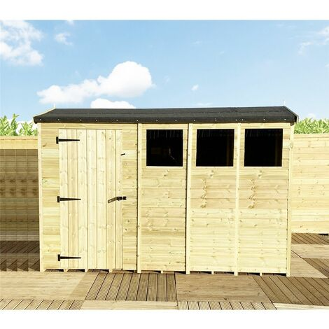 """14 x 8 **Flash Reduction** REVERSE Super Saver Pressure Treated Tongue And Groove Single Door Apex Shed (High Eaves 74"""") + 3 Windows"""