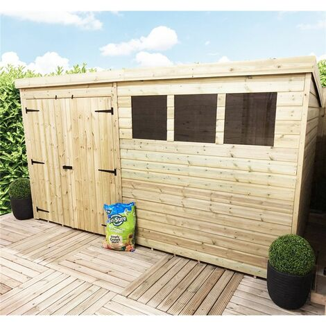 14 x 8 Large Pressure Treated Tongue And Groove Pent Shed With 3 Windows + Double Doors + Safety Toughened Glass