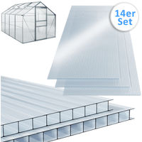 14 x Polycarbonate Greenhouse Sheets Twin Wall 4 mm UV Resistant Shockproof Durable 10.25 m² 121 x 60.5 cm Per Single Sheet