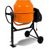 140 L Betonmischer (Handrad, 2 Räder, Fußplatte, robuster Motor, stabiles Stahlgestell) Zementmischer Betonmischmaschine