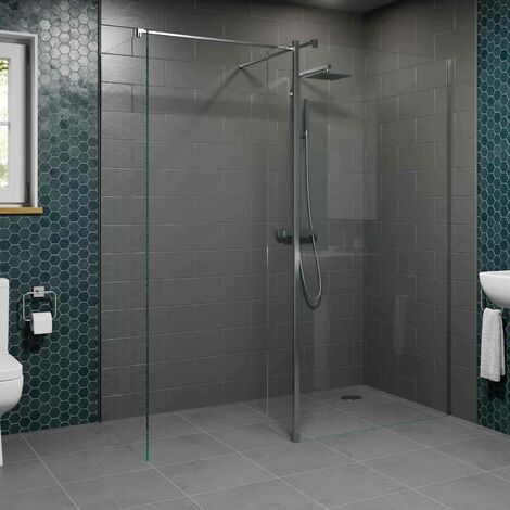 1400 & 700mm Walk In Wet Room Shower Screens with Return Panel 8mm Safety Glass