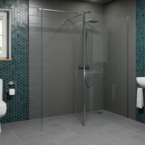 1400 & 800mm Walk In Wet Room Shower Screens with Return Panel 8mm Safety Glass