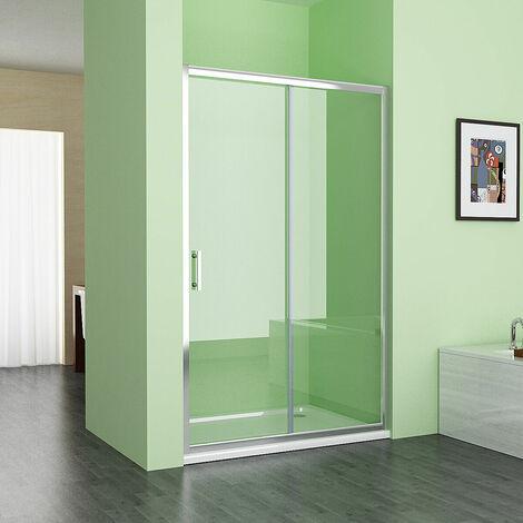 1400 mm MIQU Sliding Shower Door Bathroom Easy Clean Nano Glass Screen Shower Enclosure Cubicle - No Tray