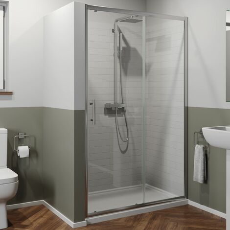 1400 x 700mm Sliding Shower Door Enclosure 6mm Glass Chrome Framed Tray & Waste
