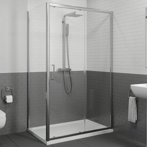 1400 x 700mm Sliding Shower Door & Side Panel Enclosure 8mm Framed Tray & Waste