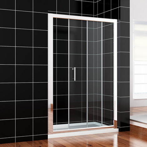1400 x 700mm Sliding Shower Enclosure 6mm Safety Glass Screen Door Cubicle with Tray + Waste