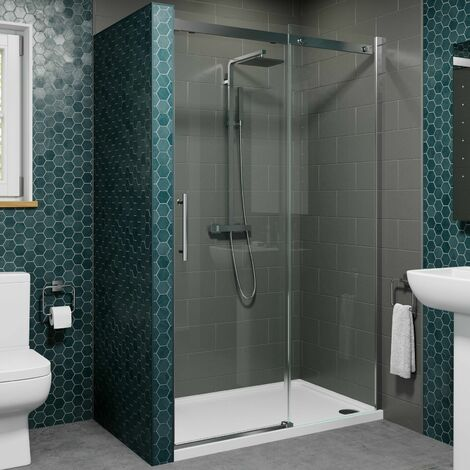 1400 x 700mm Sliding Shower Enclosure Door 8mm Glass Screen Frameless Tray Waste