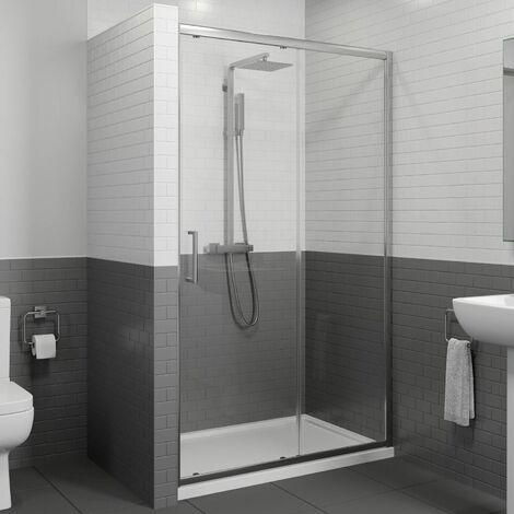 1400 x 800mm Sliding Shower Door Enclosure 8mm Glass Panel Framed Tray & Waste