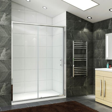 1400 x 800mm Sliding Shower Enclosure 6mm Safety Glass Screen Door Cubicle with Tray + Waste