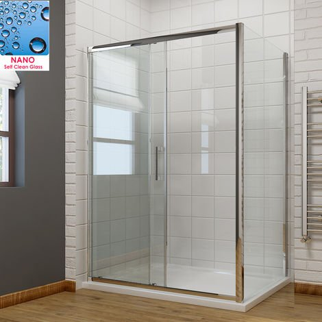 1400 x 800mm Sliding Shower Enclosure 8mm Easy Clean Glass Shower Cubicle Door with Shower Tray + Side Panel