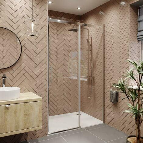 1400 x 800mm Sliding Shower Enclosure Door 8mm Glass Screen Frameless Tray Waste