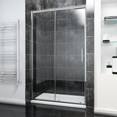 1400 x 800mm Sliding Shower Enclosure Modern Bathroom 8mm Easy Clean Glass Shower Door with Tray and Waste