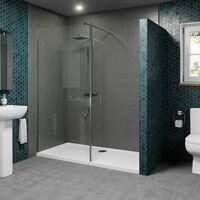 1400 x 800mm Walk In Shower Enclosure 700mm Screen & Return Panel 8mm Tray Waste
