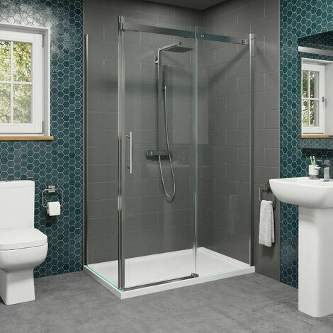 1400 x 900mm Sliding Shower Enclosure Door Side Panel 8mm Frameless Tray Waste