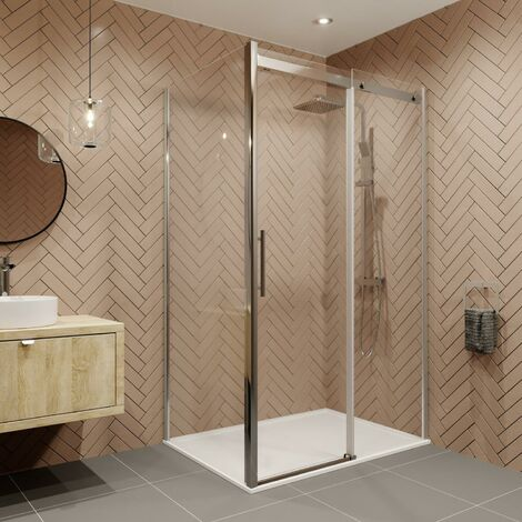 1400 x 900mm Sliding Shower Enclosure Door Side Panel 8mm Safety Glass Frameless