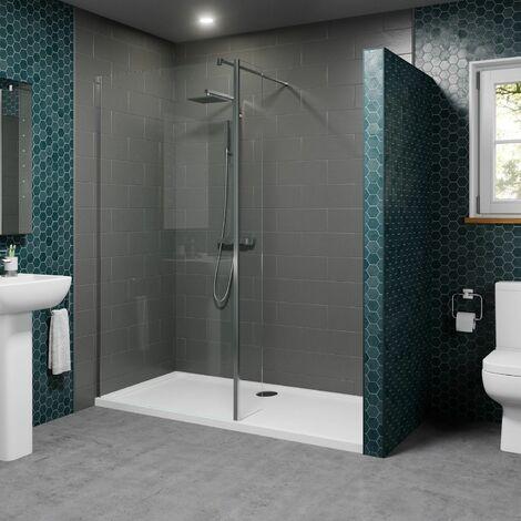 1400 x 900mm Walk In Shower Enclosure 800mm Screen & Return Panel 8mm Tray Waste