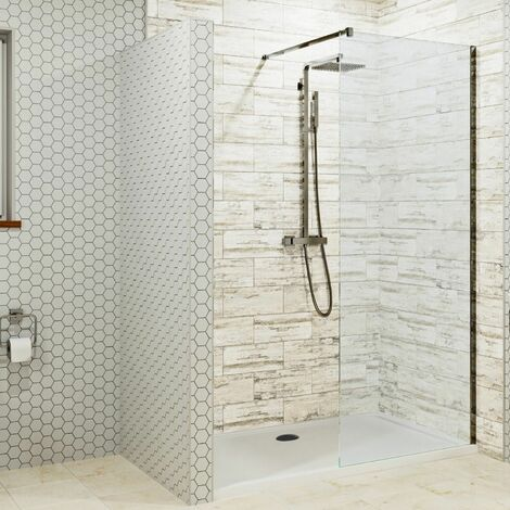 1400 x 900mm Walk In Shower Enclosure 800mm Wet Room Screen 8mm Glass Tray Waste