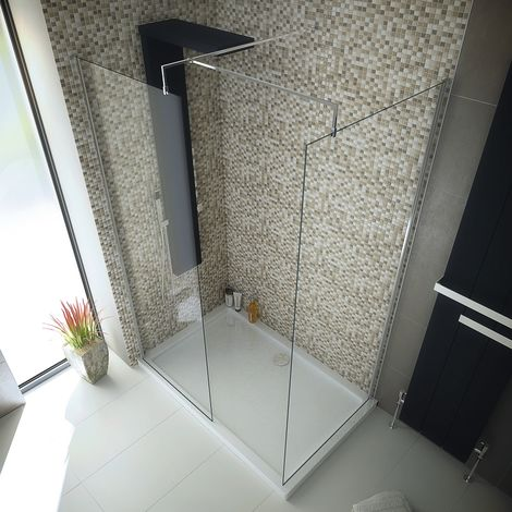 1400 X800 Walk In 8mm Glass Wetroom Shower Cubicle With Tray And Waste