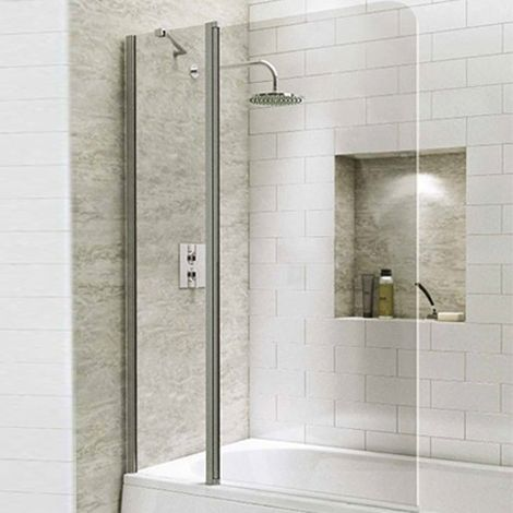 1400mm Extended Straight Bath Screen with Curved Corner - Kaso 6 by Voda Design (6mm Thick)