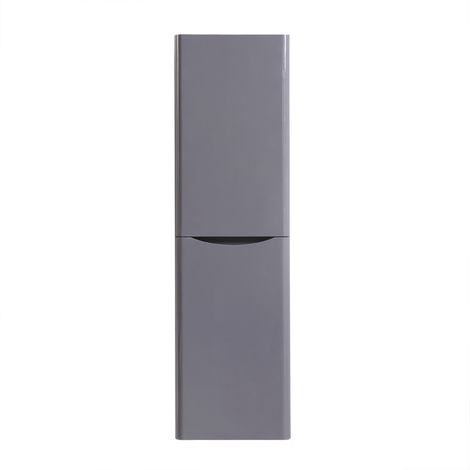 1400mm Gloss Grey Tall Cupboard Storage Cabinet Bathroom Furniture - Left Hand