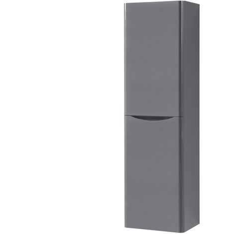 1400mm Gloss Grey Tall Cupboard Storage Cabinet Bathroom Furniture - Right Hand