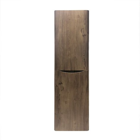 1400mm Grey Oak Effect Tall Cupboard Storage Cabinet Bathroom Furniture - Right Hand