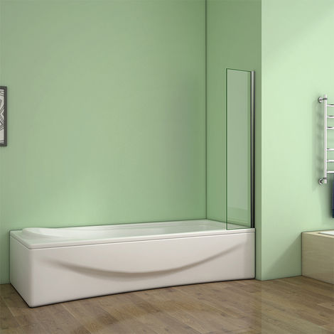 1400mm Height Corner Fixed Bath Shower Screen Over Bath Square Cut