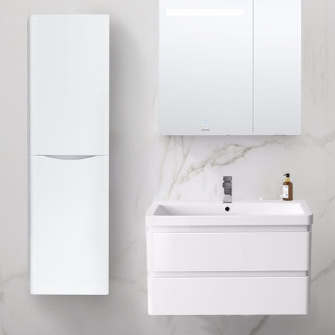 1400mm Left Hand Gloss White Tall Cupboard Storage Cabinet Bathroom Furniture