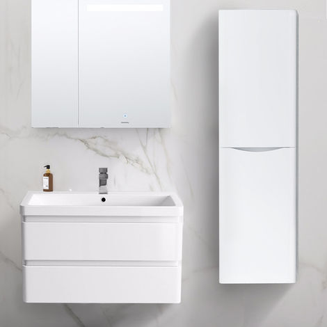 1400mm Right Hand Gloss White Tall Cupboard Storage Cabinet Bathroom Furniture