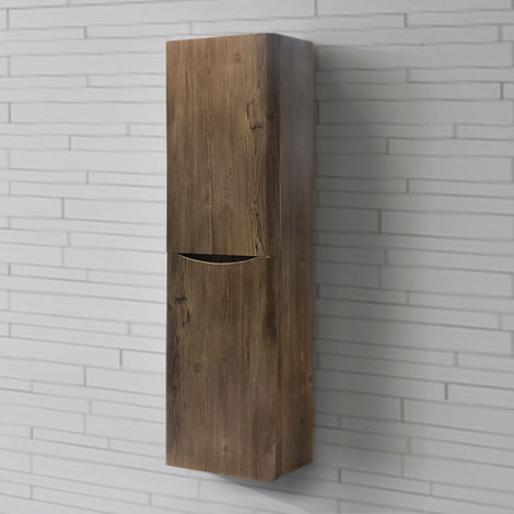1400mm Right Hand Grey Oak Effect Tall Cupboard Storage Cabinet Bathroom Furniture