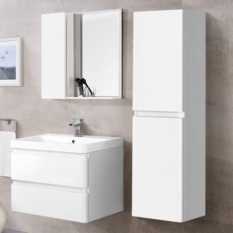 1400mm Tall Bathroom Storage Cabinet Cupboard Wall Hung Furniture Gloss White