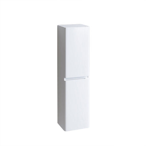 1400mm Tall Bathroom Storage Cabinet Cupboard Wall Hung Soft Close Furniture Unit Gloss White